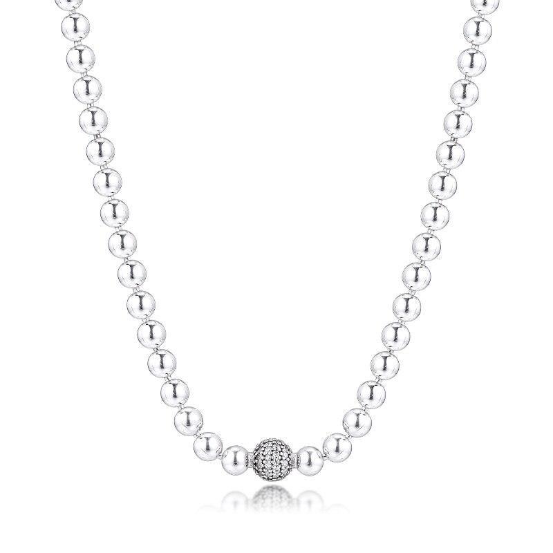 100% solide 925 argent Sterling perles & pavé collier 45 cm argent 925 colliers pour femmes bijoux à bricoler soi-même faisant en gros