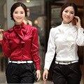 Женская шифоновая блузка рюшами, формальная блузка с пышными рукавами, женская рубашка с длинным рукавом большие размеры 3XL одежда для женщ...