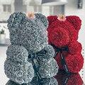 2020 Горячая продажа 40 см Мишка Тедди с короной в подарочной коробке медведь из роз искусственный цветок новогодние подарки для женщин подаро...