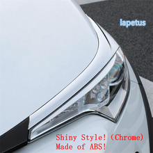 Lapetus Front Head Lights Lamp Eyelid Eyebrow Decoration Cover Trim Fit For Toyota C-HR CHR 2016 - 2020 ABS Chrome Carbon Fiber for toyota chr c hr 2017 2018 suv hatchback lower front hood grill cover trim abs chrome exterior only fit asia model