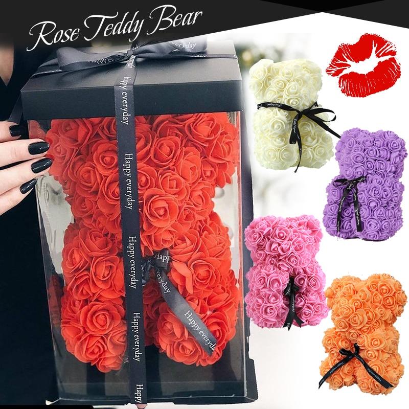 Rose Bear Artificial Flowers Roses Teddy Bear Unicorn Anniversary Christmas Valentine Gift for Girlfriend Wedding Decoration