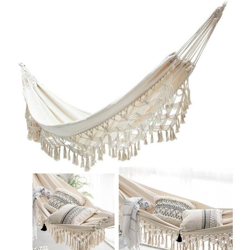 Ins Decor Hammock Boho Large Brazilian Macrame Fringe Double Deluxe Hammock Swing Net Chair Out/Indoor Hanging Hammock Swings 2P