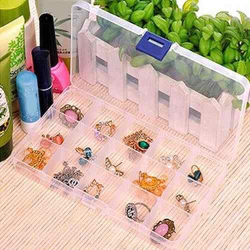 Portable 10/15/24 Kompartemen Dilepas Perhiasan Manik Storage Case Organizer Kotak Perhiasan Tampilan Case untuk Anting-Anting/ kalung/Ring
