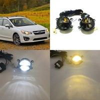July King 24W Bifocal Fog Lamp Case for Subaru Impreza 5D/XV 2011 15, 6000K Day Running Lights DRL + High Beam + 4300K Low Beam