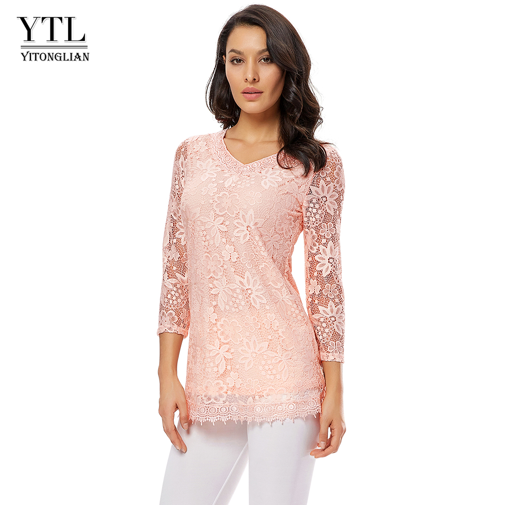 2019 New Women Lace Blouse Three Quarter Sleeve Floral Vintage Tops Round Neck Pink Blusa Shirt Ladies Plus Size Blouses H009