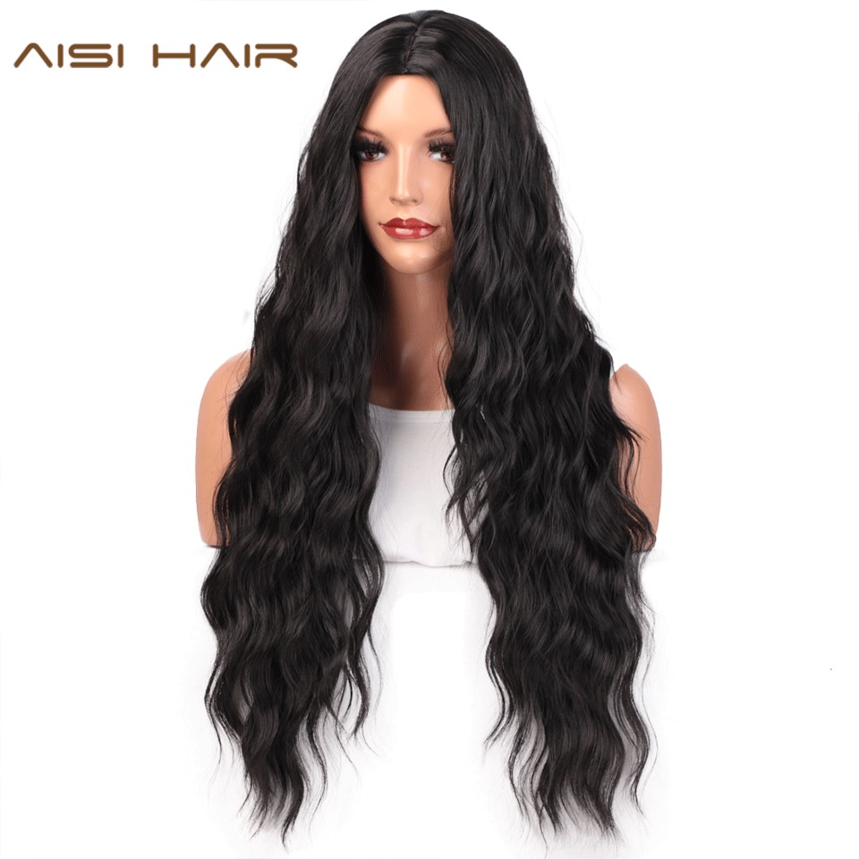 AISI HAIR Long Black Wavy Wig  Synthetic Wave Wigs For Black Women Natural Middle Part Wigs Heat Resistant Hair