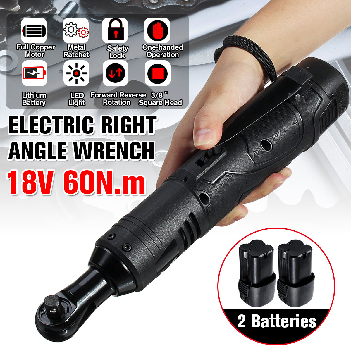 18V Electric Wrench 3/8 Cordless Ratchet With Battery LED Light Kit Right Angle Rechargeable Scaffolding 60N.m Torque Ratchet