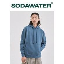 SODAWATER גברים נים יפני רחוב סגנון 11 טהור צבעים סלעית סווטשירט בסוודרים עבה חם Oversize הסווטשרט גברים חולצות 167W17