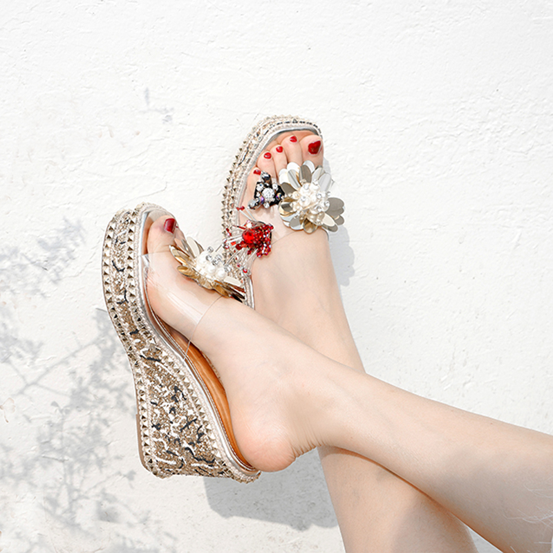 10cm High Heels Slippers Sexy Flower Rhinestone Sandals Rivet Gladiator Sandals Women Platform Wedge Sandals Female Slippers