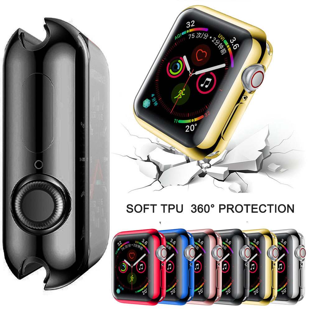 Slim TPU Screen Protector Case Cover For Apple Watch Series 5 4 3 2 Soft Clear Case For IWatch Case Apple 4 40mm 40mm 38mm 44mm