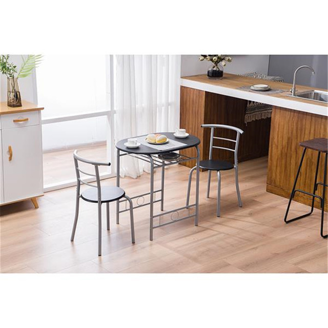 PVC Breakfast Table (One Table and Two Chairs) Black For Living Room Garden Kitchen Table Chairs Furniture 3