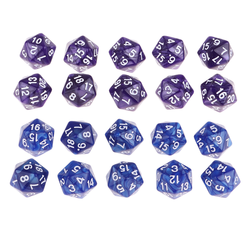 20pcs Twenty Sided D20 Dice Playing D&D RPG Board Game Favours, Blue and Purple