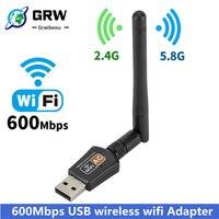 GRWIBEOU-receptor Wifi adaptador Wifi USB, 5,0 GHz + 2,4 GHz, antena Wifi de alta velocidad de 600Mbps, tarjeta de red inalámbrica para PC, 802.11ac