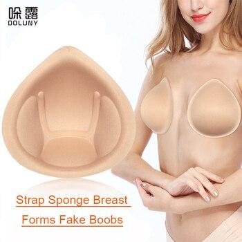 1 Pair Realistic Strap Sponge Breast Forms Fake Boobs Enhancer Bra Padding Inserts 2XL For Swimsuits Crossdresser D40 цена 2017