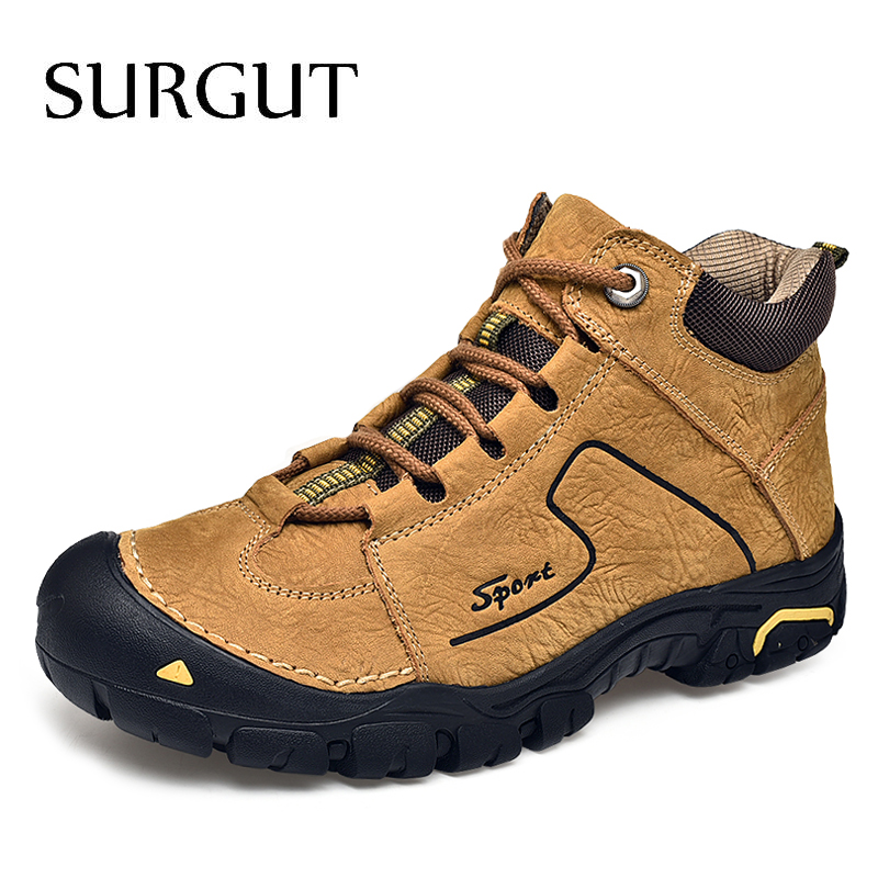 SURGUT Men Boots Size 38~46 Designer Men Shoes Winter Boots Waterproof Men Snow Boots Lace Up Men Ankle Boots Winter Shoes Male