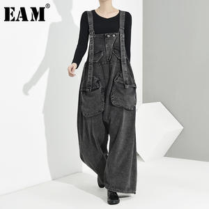 Loose Trousers Fit-Pants High-Waist EAM Spring Black Women Fashion Autumn Overalls Big-Pocket