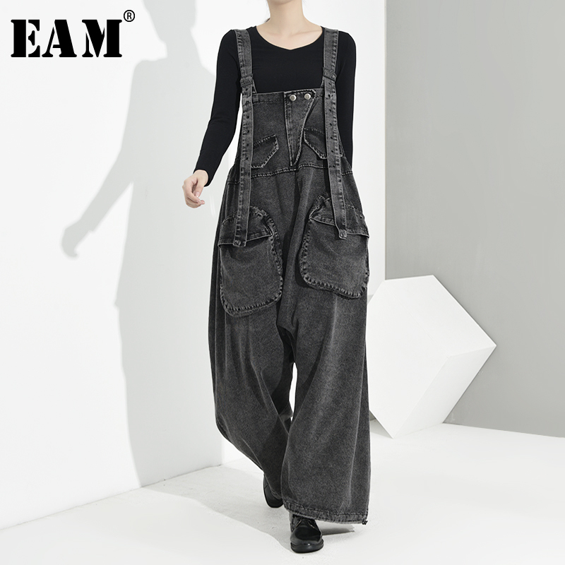 [EAM] High Waist Black Big Pocket Splt Long Denim Overalls Trousers New Loose Fit Pants Women Fashion Spring Autumn 2020 1K1640