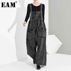 [EAM] High Waist Black Big Pocket Splt Long Denim Overalls Trousers New Loose Fit Pants Women Fashion Spring Autumn 2020 1K1640
