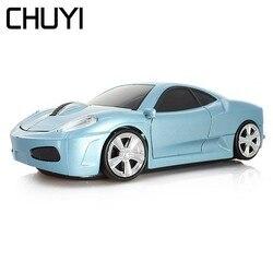 CHUYI bezprzewodowa mysz optyczna USB komputera samochodu myszy 3D Mini 1600DPI złoty do gier PC Laptop mysz dla graczy prezent dla dziecka