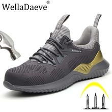 Men Steel Toe Air Safety Work Shoes Lightweight Breathable Indestructible Puncture Proof Protective Boots Casual Sneaker For