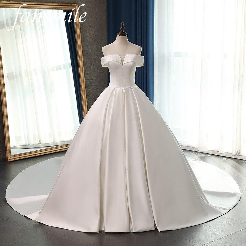 Fansmile Satin Vestido De Noiva Elegant Ball Gown Wedding Dress 2020 Long Train Bridal Ball Gowns Plus Size Customized FSM-077T