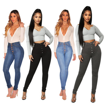 Streetwear Womens Pants with High Fit Skinny Slim Straight Jeans for Girls Waisted Trousers Buttoned Denim