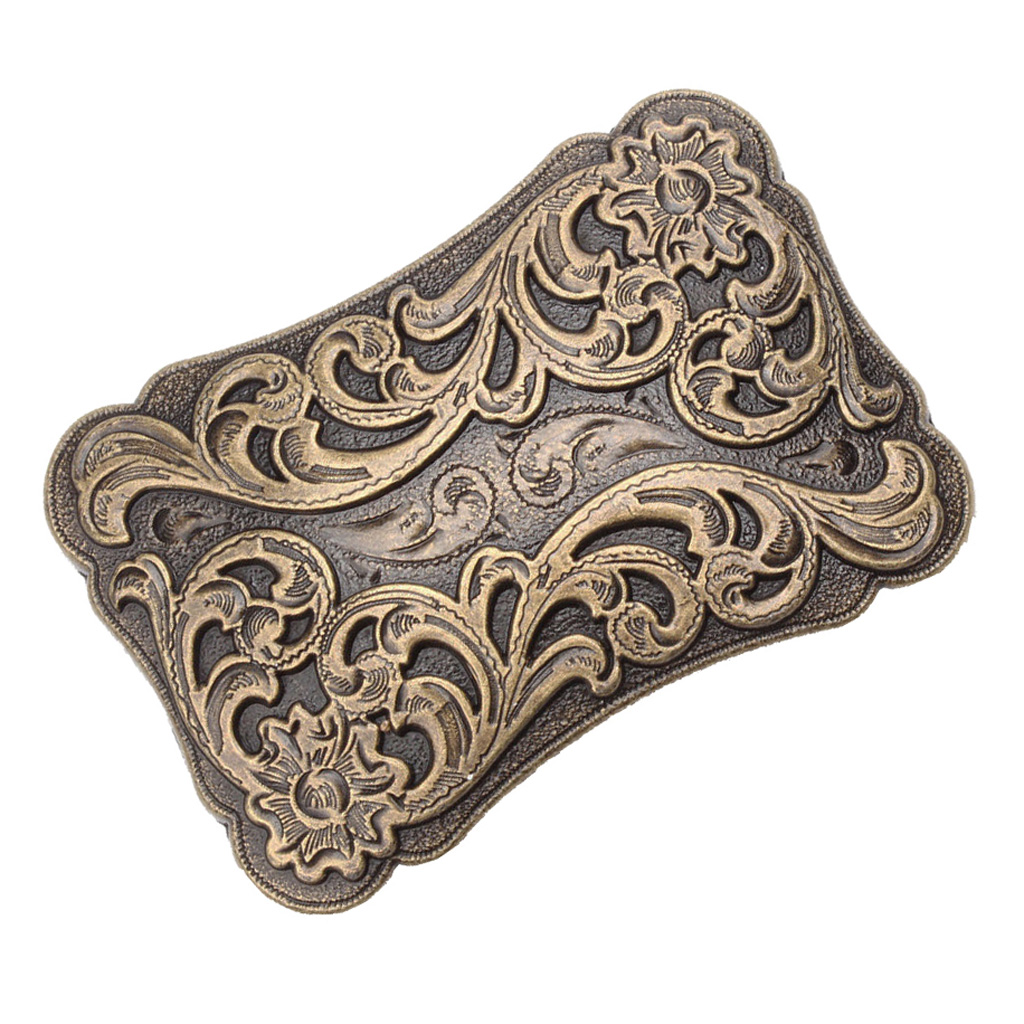 Vintage 3D Arabesque Floral Pattern Western Belt Buckle Native Indian