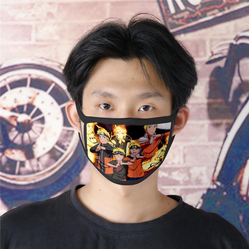 Anime Uzumaki Naruto Uchiha Itachi Sharingan Cotton Mask Dustproof Cosplay Mask For Adults Children Street Sports Half Face Mask