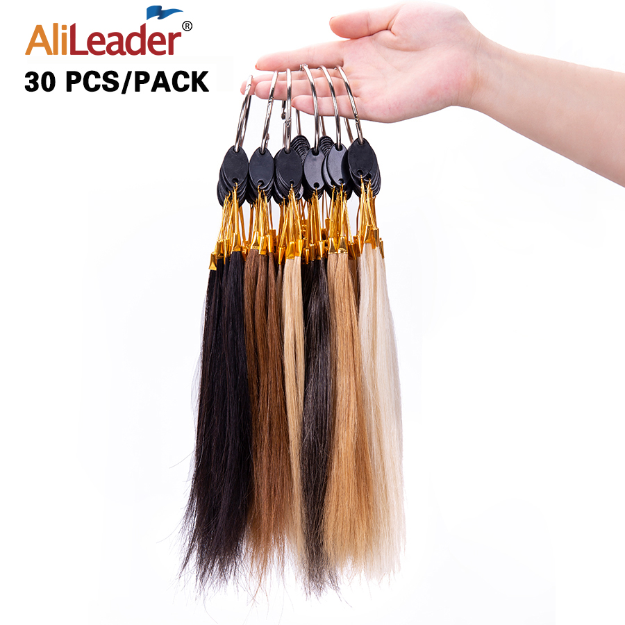 Alileader Black/White/Grey/Brown/Blonde Color Human Hair Color Rings For Extension Salon Hair Design Practice Swatches Rings