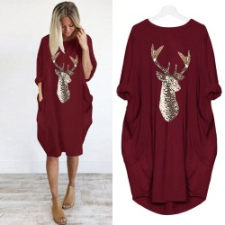 Plus Size dress Women Casual Loose Tops Elk Printting Sundress 2019 Autumn Winter Ladies O Neck Long Pocket Christmas Dresses 2
