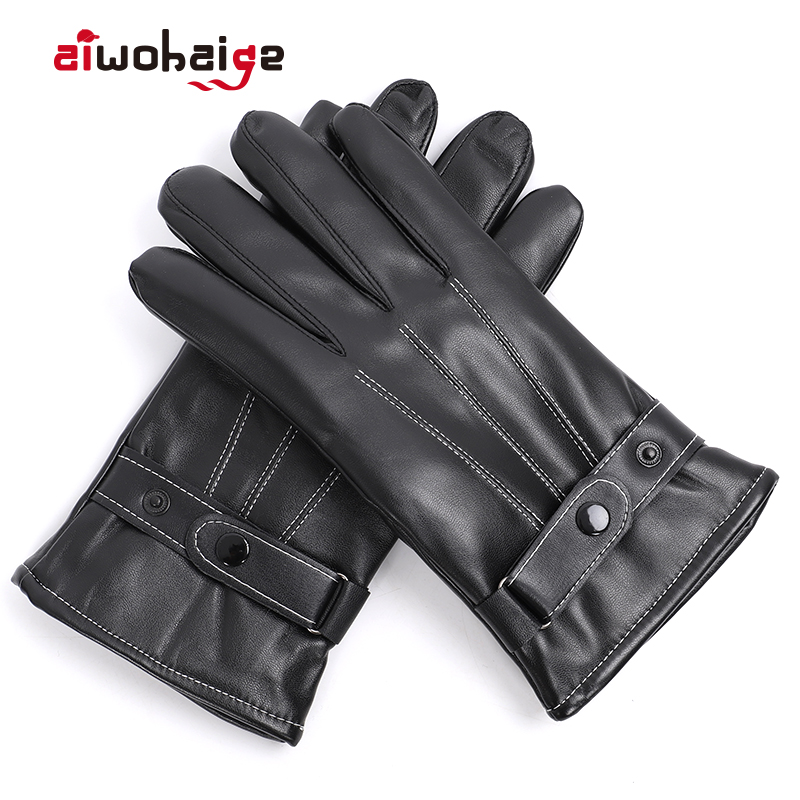 2019 New Winter Leather Gloves Women Men Motorcycle Full Finger Touch Screen Gloves Hand Warmer Windproof Riding Long Gloves