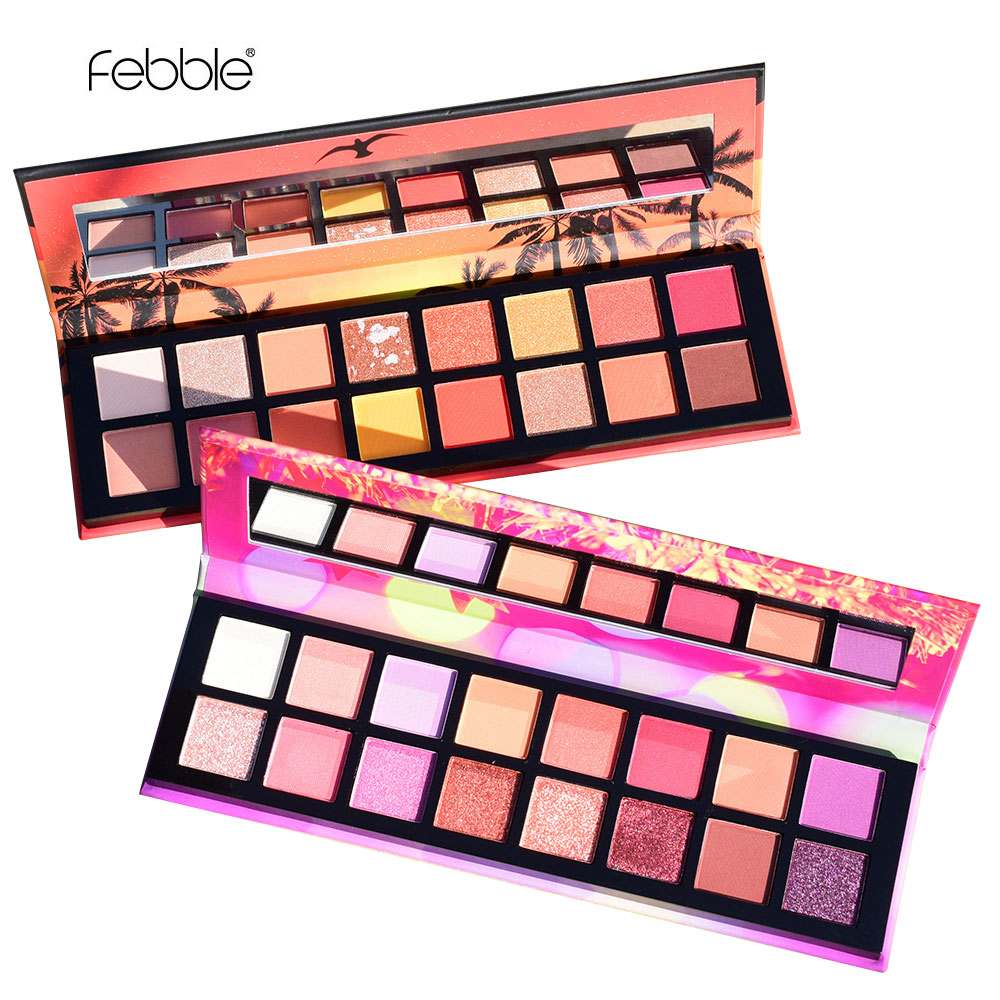 Febble Brand 16 Colors Matte Glitter Shimmer Eye Shadow Makeup Pigmentation Easy To Wear Long-lasting Eye Cosmetics Waterproof