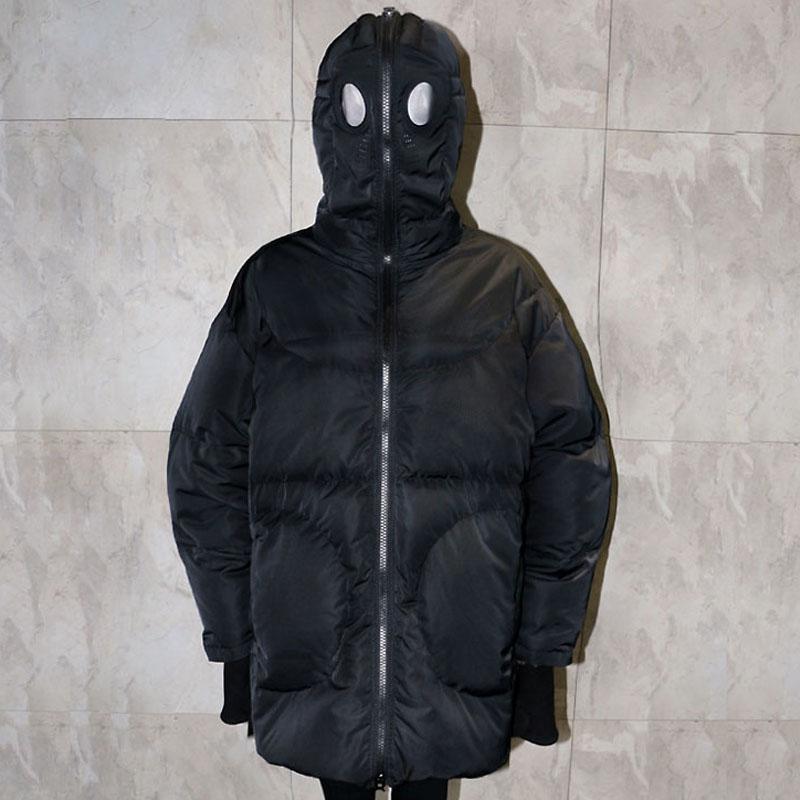 Plus Größe Frauen Jacke Winter Mantel Frauen Lose Parka Gesicht Kappe Kapuze Dicken Parka Weiß Schwarz Lustige Persönlichkeit Alien Mantel XX58 - 3