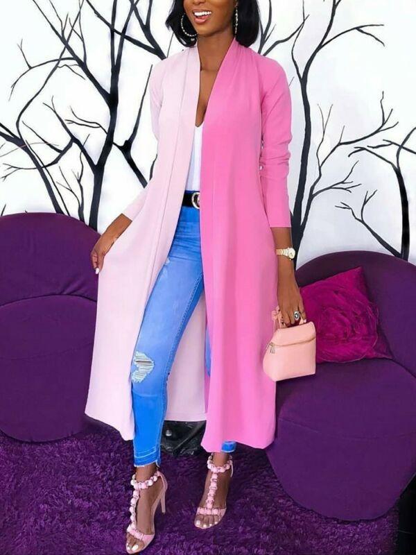 Womens Loose Long Sleeve Cardigan Summer Patchwork Black White  Kimono Shawl Tops Blouse Coat Jacket