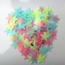 100 шт. 3/3. 8/4. 6 см светящаяся звезда светящаяся наклейка для стены флуоресцентная 3D детская спальня потолок дома темное место звезда Наклейка на стену s