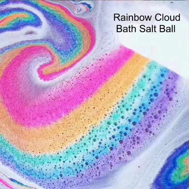 Natural Skin Care Bath Salt Rainbow Soap Ball Skin Care Exfoliating Moisturizing Handmade Bath Bomb Bubble Massage SPA 5