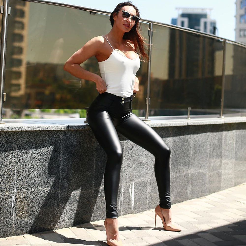 Melody Skinny Pu Leather Leggings Warm Winter Sexy Legins With Fleece Lined Mid Rise Sport Femme Fitness Leggings For Women