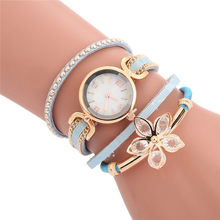 NEW 2020 flower shape pattern long straps cross leather bracelet watches women ladies dress quartz leisure gift wrist watches(China)