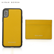 Hiram Beron Monogrammed card holder for women lemon yellow with cell phone case iphone 11 Pro Max Christmas gift dropship
