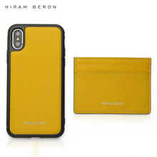 Hiram Beron Monogrammed card holder for women lemon yellow with cell phone case for iphone 11 Pro Max Christmas gift dropship(China)