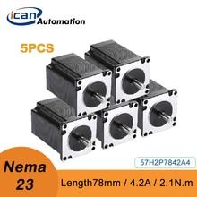 ICAN Nema23 2.1Nm 78mm 4.2A 5pcs Stepper Motor For Engraving Machine