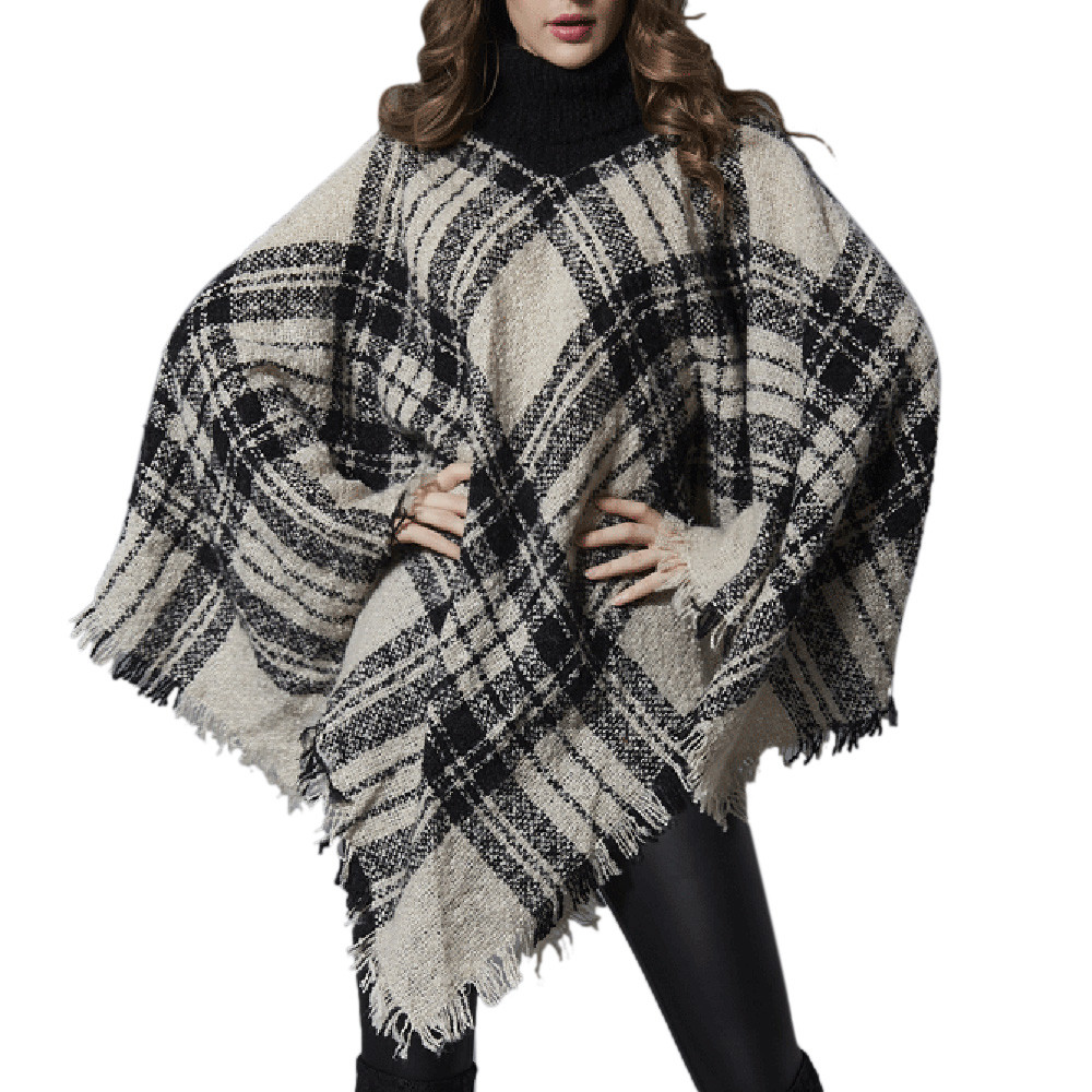 Casual Ladies High Collar Plaid Printed Bat Long Sleeve Sweater Fashion Pullover Sweater Autumn And Winter Windshield Warm
