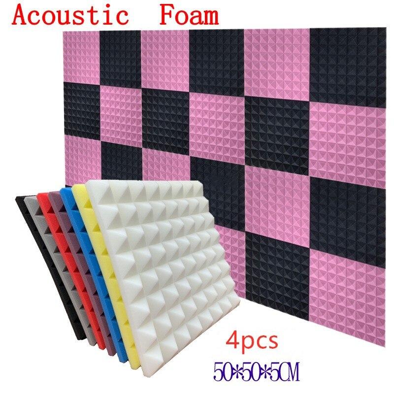4Pcs 2 X 20 X 20inch 7Colors Soundproofing Foam Acoustic Foam Sound Treatment Studio Room Absorption Tiles Polyurethane Foam