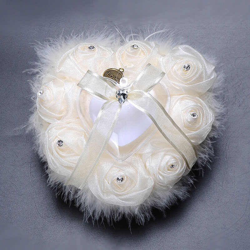 Satin Ring Pillow Cushion Wedding Decorations Chic Heart-shape Flowers Valentine's Day Gift Pincushion marriage Ring decor Mat