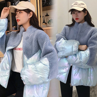 Women Winter Coat 2019 Lamb Hair Short Down Jacket Loose Slim Fur Patchwork Glossy Cotton Coat