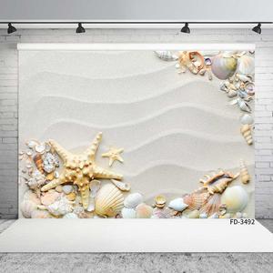 Image 2 - 写真撮影の背景ビーチ砂波紋ヒトデシェルカスタム背景パーティーの装飾photocall子供のための写真