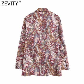 Zevity New women chic paisley printing leisure blazer coat ladies long sleeve open stitch casual pockets outwear suit tops CT551