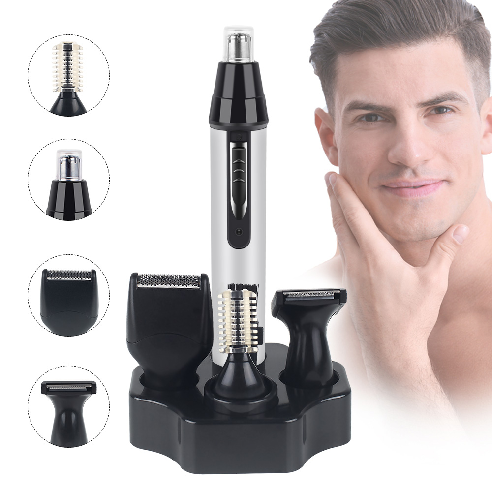 4 In 1 Electric Nose Hair Trimmer Men Trimer Ear Nose Hair Trimmer Beard Trimmers Hair Removal Eyebrow Epilator Nose Clippers