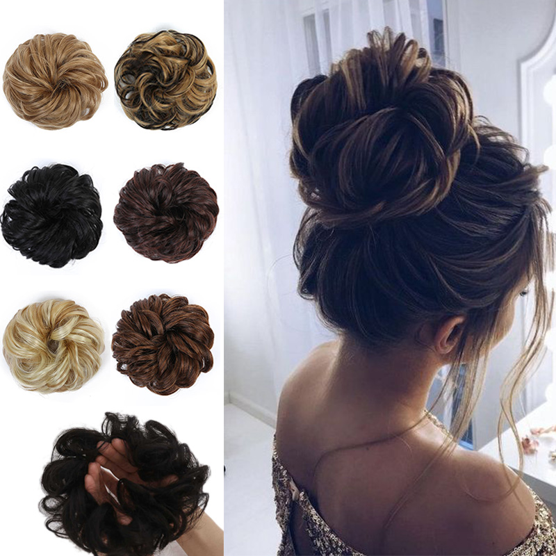 LUPU Womens Curly Scrunchie Chignon Synthetic Hair Bun With Elastic Band High Temperture Fiber Messy Hair Extensions Hairpieces