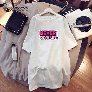 Women Dresses NEVER Series Letter Plus Size Black Mini Dress Loose Summer Long T Shirt Casual Clothes Femme Tops White Sukienka 68